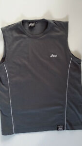 Generous Asics Men's Clothing Mens Sport Modern Fit Muscle Shirt/vest For Any Gym Size S Bracing Up The Whole System And Strengthening It