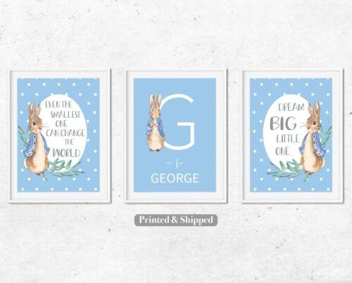 Nursery Wall Art Nursery Decor Set of 3 Peter Rabbit Personalised Boys Blue Gift