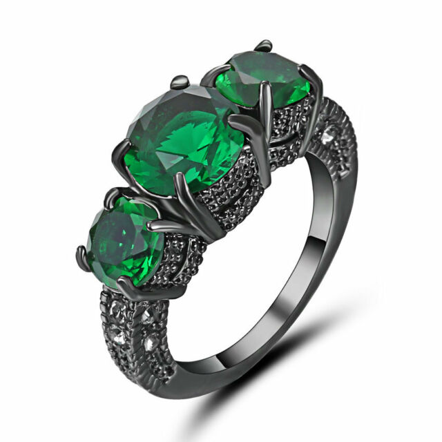 Size 6 Vintage Green Emerald Crystal Wedding Ring Black Rhodium