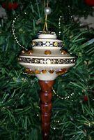 Ooak Handmade Wood Christmas Tree Ornament With Vintage Rhinestones 30