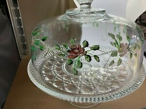 Hand-painted-Rose-and-Leaf-Clear-Glass-Pedestal-Cake-Dish-and-Bowl