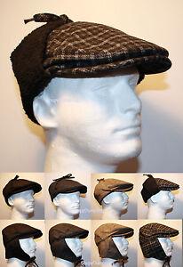 Men Winter Wool Flat Ivy Golf Hat Cap With Ear Flap Warmer