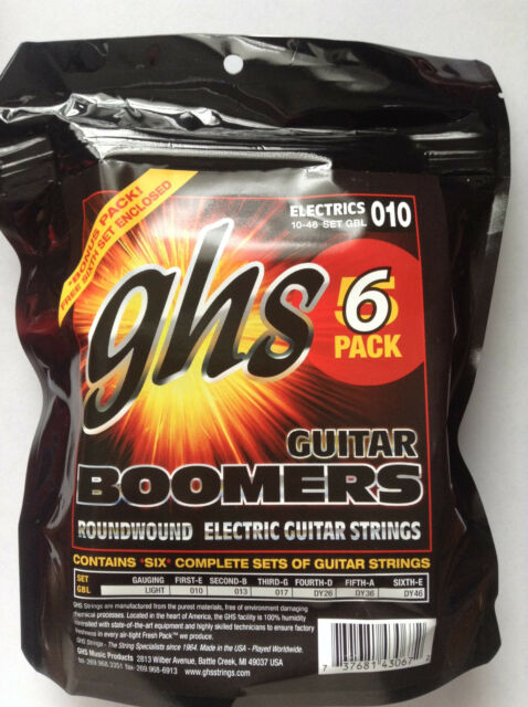 Six Sets of GHS Boomers Electric Guitar Strings GBL 10-46 LT 6-pack set