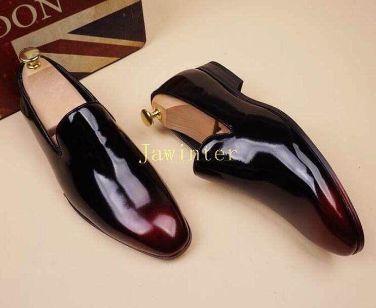 Vestido de charol negocios de charol de para hombre Tire de Puntera en Punta Zapatos Oxford Ocio fd851c