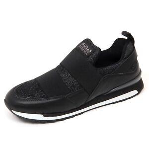 D0578 sneaker donna HOGAN REBEL R261 scarpa nero slip on shoe woman ... f40e13ebb32