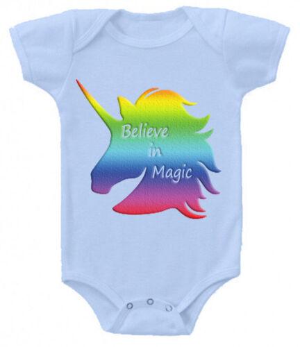 Believe in Magic cute Baby Grow Suit Vest gift present unicorn unicorns z1