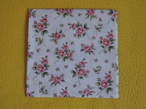 5 Servietten Rosen EVELYN Roses Serviettentechnik viele kleine Motive rosa Rose