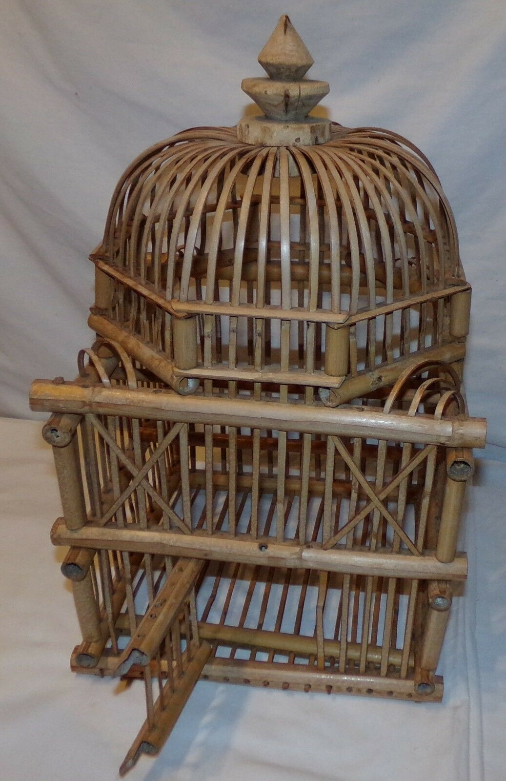 Vtg Bamboo Bird Cage Pagoda Asian Birdcage