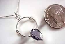 Faceted Iolite Pendant 925 Sterling Silver New Rope Style Accents Hoop Round
