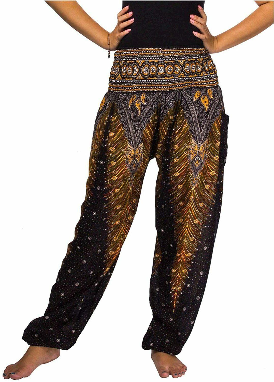 Lofbaz Pantalon Sarouel Femmes Taille Smock/ée Boho Harem Pants