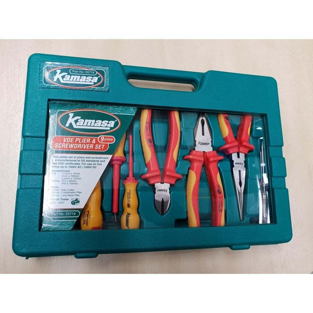 Kamasa 55719 VDE 9 Piece Screwdriver & Plier Set & Carry Case NEW 9PC