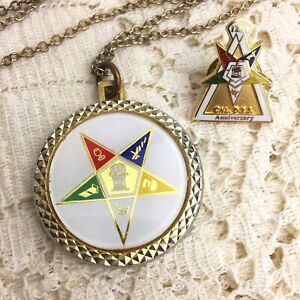 Vintage-Order-of-the-Eastern-Star-Liberty-Coin-Pendant-Calif-Pin-OES-Masonic-LOT