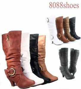 Women-039-s-Fashion-Mid-Calf-Low-Heel-Round-Toe-Big-Buckle-Boots-Shoes-Size-5-10-NEW