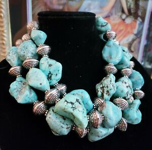 turquoise magnesite statement necklace southwestern inspired turquoise necklace triple strand turquoise magnesite necklace