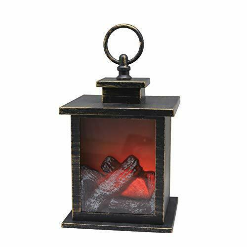 """Hanging or Sitting 7/"""" H Fireplace Lantern with 6 Hours Timer Battery Operated"""