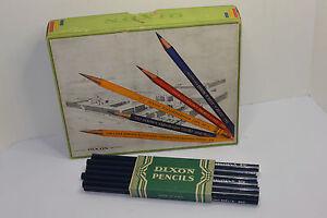 VINTAGE-1930s-BOX-OF-DIXON-810-BLUECHECK-BLUE-PENCILS-UNUSED-4-DOZ-GRAPHICS