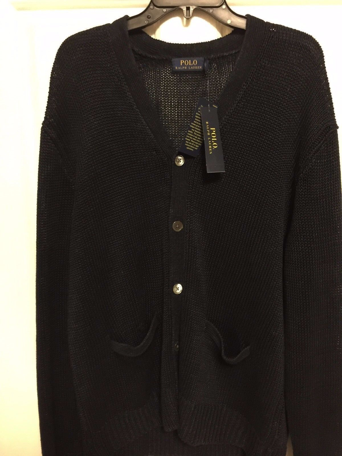 herren Polo Ralph Lauren Cardigan..Button Front Pockets..Navy..100% Linen..groß