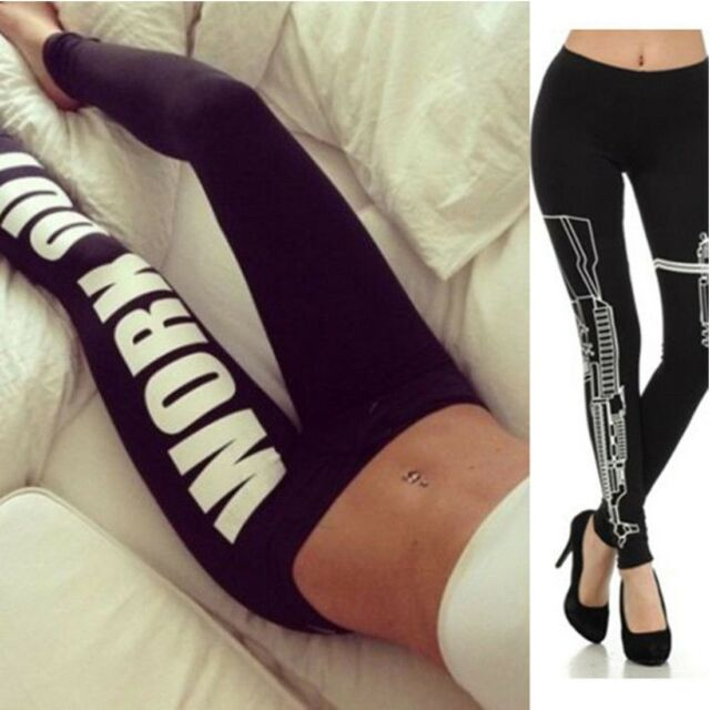 Womens Workout Clothes Pants Ladies Trouser Sports Crop Yoga Gym Leggings FX1172
