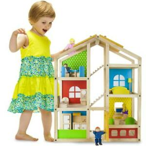 """Wooden Wonders 24"""" Tall Townhome Doll House Set with 4 Dolls, 16pc Furniture"""
