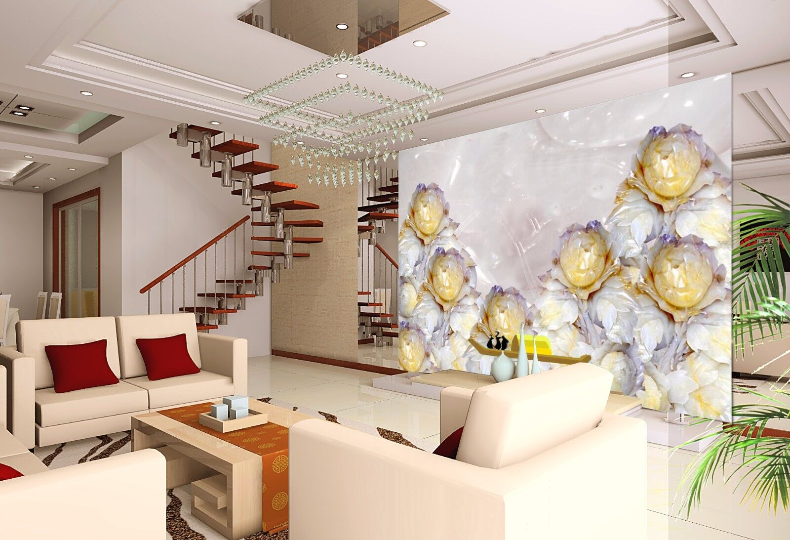 3D Gelb Flower Jade 835 Wallpaper Mural Paper Wall Print Wallpaper Murals UK