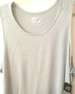 Mens-Tank-T-shirt-Gray-White-Russell-Dri-Power-Wicking-Training-Fit-NWT-3XL-XL-L
