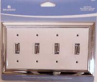 126312 White Ceramic & Chrome Quad Switch Cover Plate