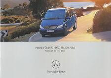 Preisliste 2003 Mercedes Viano Marco Polo  16.6.03 price list Reisemobil Preise