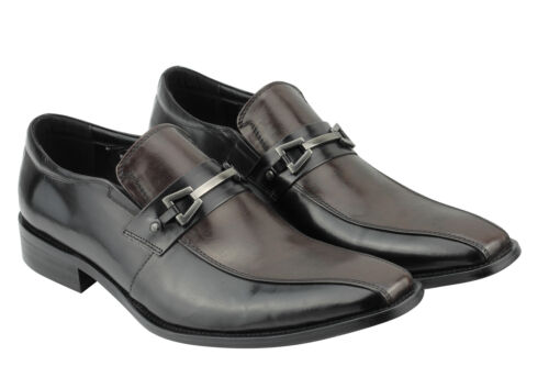 Mens Real Leather Loafers 2 Tone Black Brown Smart Vintage Italian Style Shoes