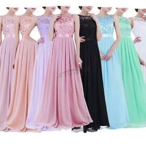 Formal-Long-Women-Lace-Dress-Prom-Evening-Party-Cocktail-Bridesmaid-Wedding