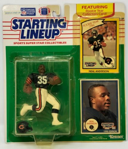 1990 KENNER Starting Lineup NFL Neal Anderson Blue Jersey Chicago Bears Comme neuf on Card