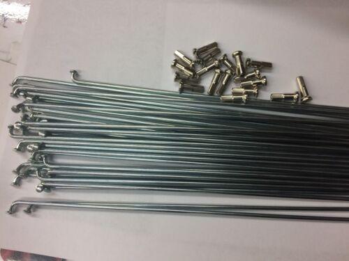 Steel Spokes//nippls Silver180 trough268mm.12G .straight gauge.18pc.set 2.6mm