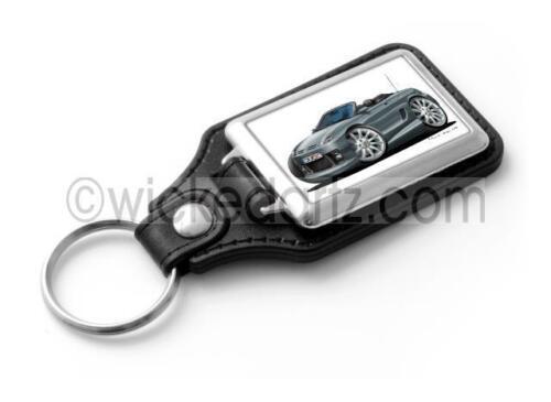 WickedKarz Cartoon Car Rover MG TF Sportscar in Metallic Grey Stylish Key Ring