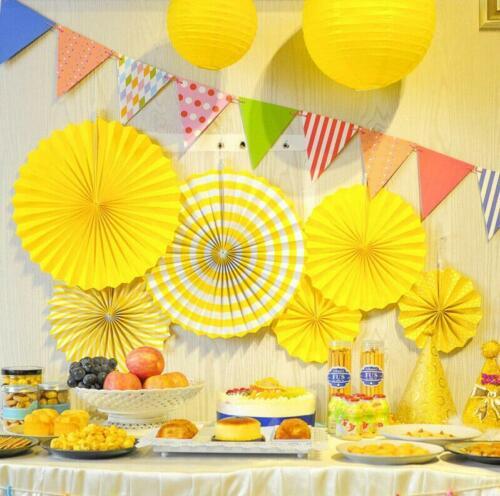 6pcs Stripe Tissue Paper Fan Flower Wedding Birthday Party Home Decoration