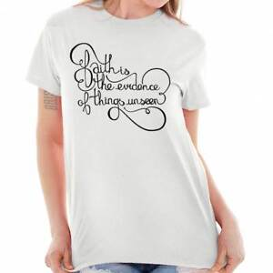 acf8cf801 Image is loading Faith-Evidence-Religious-Women-Shirts-Funny-Sayings-Cute-