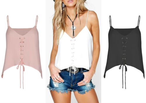 New Ladies Asymmetric Crop Top Straps V Neck Vintage Blouse Shirt 8-14