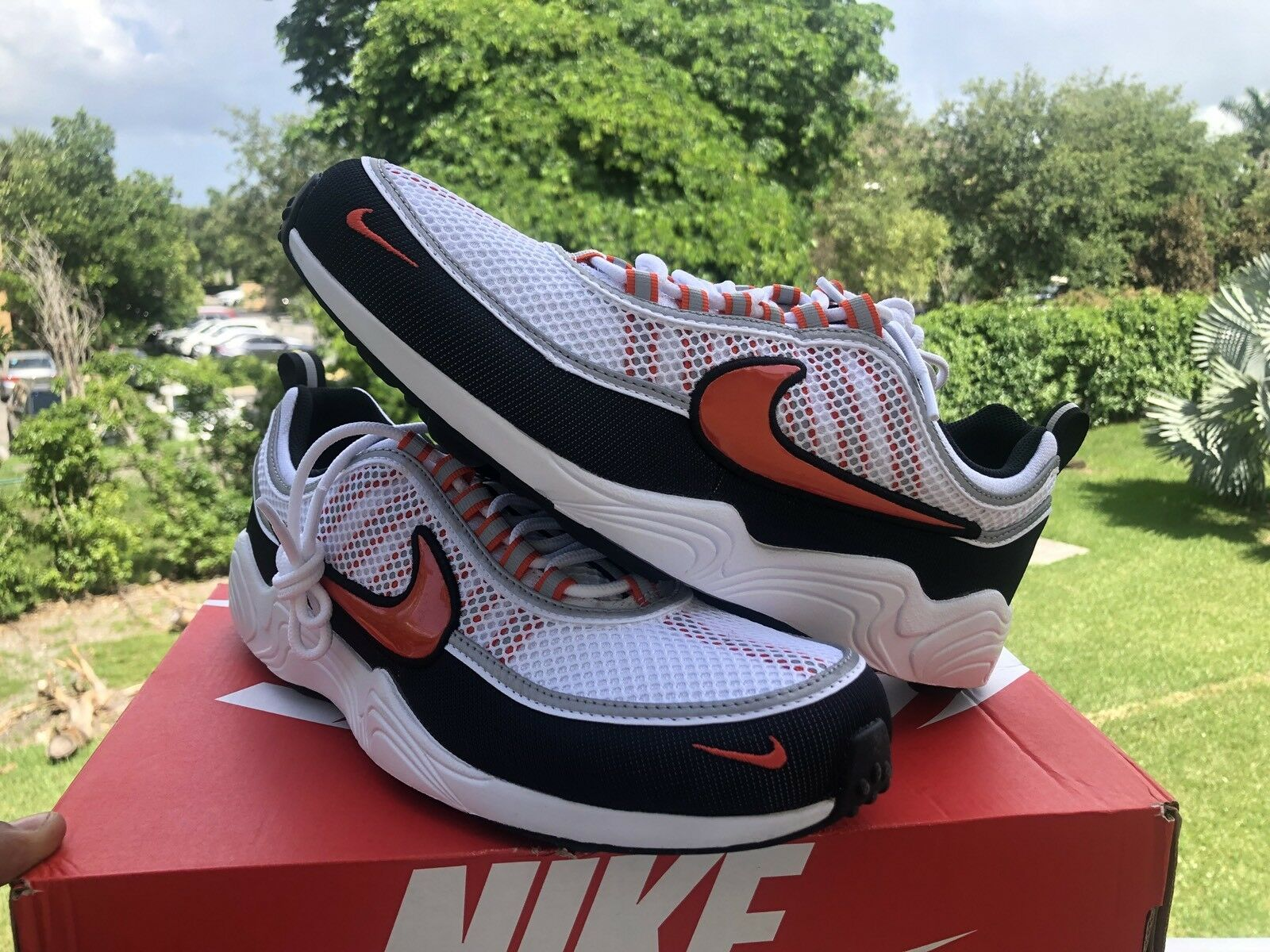 The latest discount shoes for men and women Nike Air Zoom Spiridon 16 White Team Orange Black Comfortable