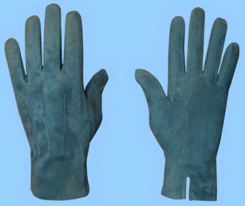 NEW MENS size 8.5 or Med SUEDE LEATHER TEAL-BLUE-TURQUOISE GLOVES-CASHMERE LINED