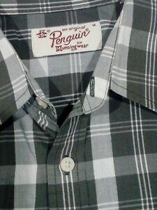 Mens-Penguin-Slim-Fit-Short-Sleeve-Multicolour-Shirt-Size-M
