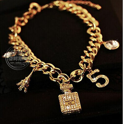 Women Fashion Letters/Tower/Perfume Bottle Pendants Gold Plated Chain Necklace