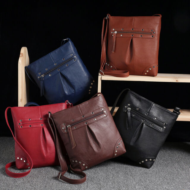New Womens Handbag Leather Satchel Cross Body Shoulder Messenger Bag Excellent