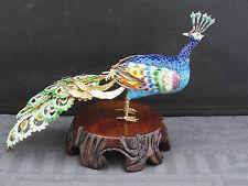 schöne alte Silber 925/- Figur vergoldet mit Emaille Paradiesvogel signiert BJ
