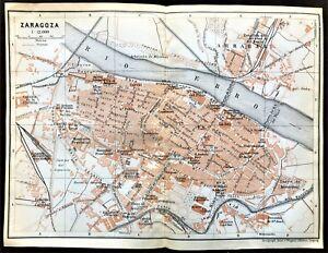 Map Of Spain Zaragoza.Antique Color Map Spain Plan Of Zaragoza Karl Baedeker