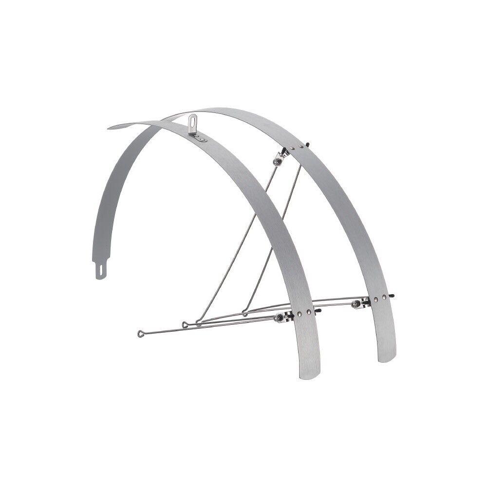 Paio parafanghi piatti bicicletta in alluminio