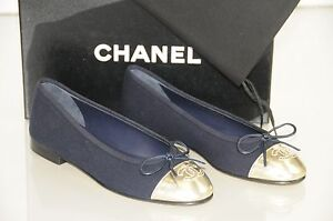 cd12d38b135 New Chanel NAVY BLUE Gold Leather Cap Toe Ballerinas Ballet Flats ...