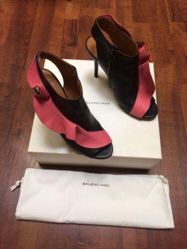 Rose Frange Escarpins Balenciaga 39 T Boots Cuir Chaussures qtwZXUx