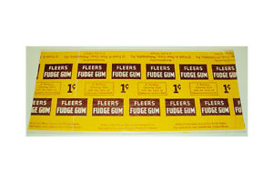 Rare-1950-039-s-Fleer-039-s-Fudge-Chewing-Gum-One-Cent-Uncut-Wrapper-Strip