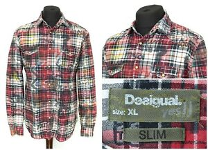 Mens-Desigual-Snap-Chest-Pocket-Shirt-Long-Sleeve-Red-Check-Slim-Fit-Size-XL