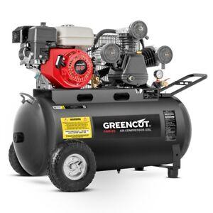 Compresseur-d-039-air-120-litres-8-BAR-470-l-min-moteur-a-essence-6-5cv-GREENCUT