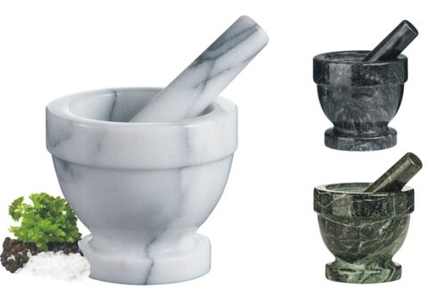 New Marble Polished Finish Mortar And Pestle Herb Spices Grinder Crusher
