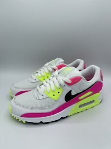 Details about Nike Air Max 90 White Black Pink Blast CT1030 100 Running Shoes WOMENS SIZE 8